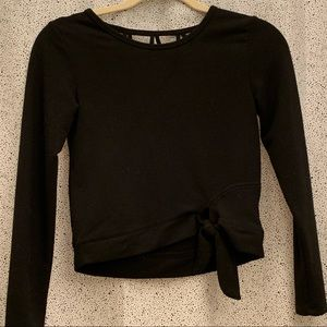 Black Crop Top Low Back Size Small
